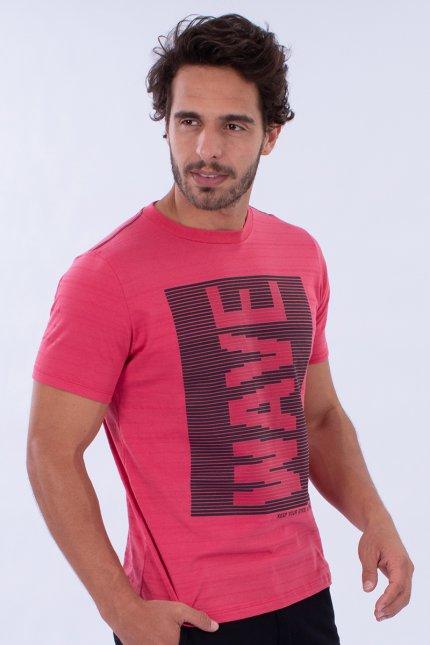 Imagem - Camiseta Malha Maquinetada Masculina Coral Com Estampa