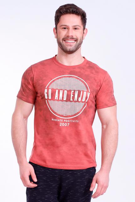Imagem - Camiseta Masculina Estonada Com Estampa