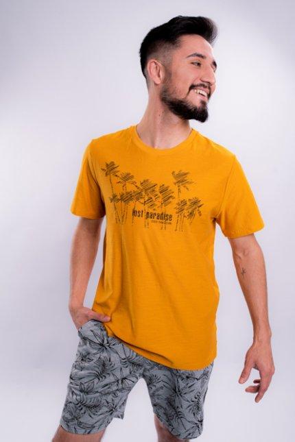 Imagem - Camiseta Masculina Manga Curta Mostarda