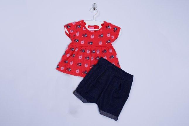 Imagem - Conjunto Bebê Com Shorts Cotton Jeans Blusa Estampada