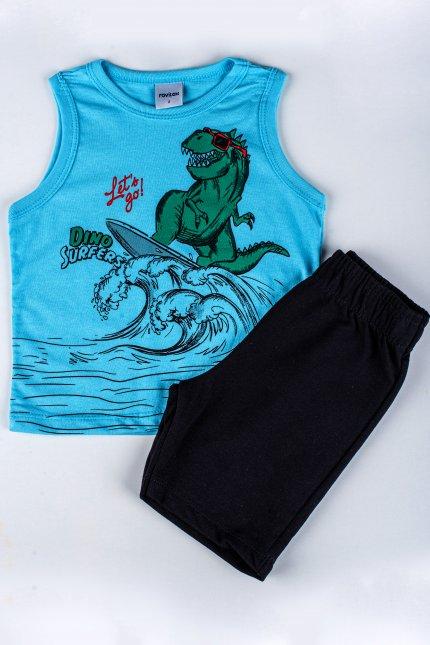 Imagem - Conjunto Regata Com Bermuda Bebê Estampa Dino Surf