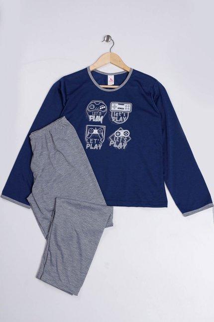 Imagem - Pijama Juvenil Menino Marinho Estampa Game