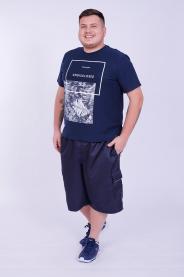 Imagem - Bermuda Micro Masculina Plus Size Marinho Com Bolso Cargo