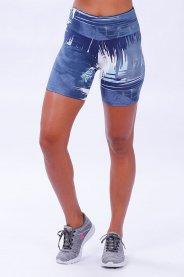 Imagem - Bermuda Poliamida Feminino Azul E Branco