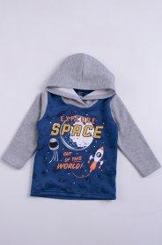 Imagem - Blusa Moletom Bebê Menino Azul Espaço