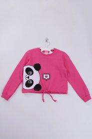 Imagem - Blusa Moletom Infantil Menina Cropped Pink Urso