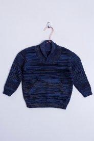 Imagem - Blusão Acrilico Bebê Bolso Canguru Rajado Azul