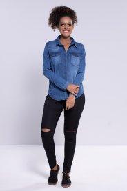 Imagem - Camisa Feminina Jeans Manga Longa