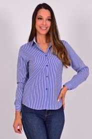 Imagem - Camisa Feminina Manga Longa Azul