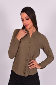 Imagem - Camisa Feminina Manga Longa Verde Militar
