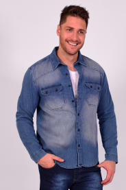 Imagem - Camisa Jeans Moletom Masculina Com Lavagem