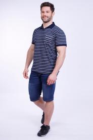 Imagem - Camisa Malha Masculina Marinho Listrada Gola Pólo Com Bolso