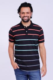 Imagem - Camisa Malha Masculina Preta Listrada Gola Pólo