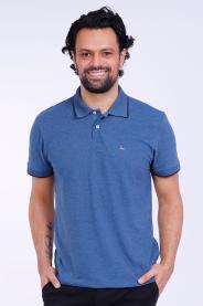 Imagem - Camisa Malha Piquet Masculina Azul Gola Pólo Sem Bolso