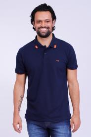 Imagem - Camisa Malha Piquet Masculina Marinho Gola Pólo Com Bordado