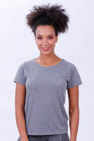 Imagem - Camiseta Dry Feminino Manga Curta Gola Redonda Mescla