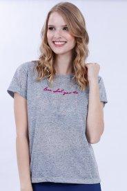 Imagem - Camiseta Flamê Feminina Manga Curta Com Estampa Flocado
