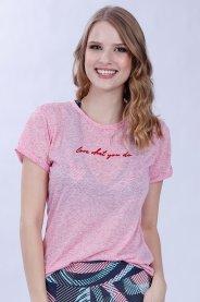 Imagem - Camiseta Flamê Feminina Manga Curta Com Flocado