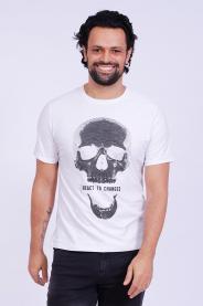 Imagem - Camiseta Malha Masculina Branca Estampa Caveira