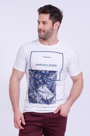 Imagem - Camiseta Malha Masculina Branca Estampa Tropical