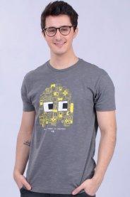 Imagem - Camiseta Malha Masculina Chumbo Estampa Game