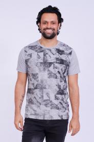 Imagem - Camiseta Malha Masculina Cinza Estampa Geométrica