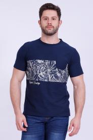 Imagem - Camiseta Malha Masculina Marinho Com Bolso Estampa Tropical