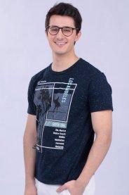 Imagem - Camiseta Malha Masculina Marinho Com Estampa Tropical