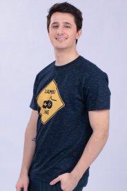 Imagem - Camiseta Malha Masculina Marinho Estampa Game