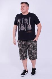 Imagem - Camiseta Malha Masculina Plus Size Preta Estampa Guitarra