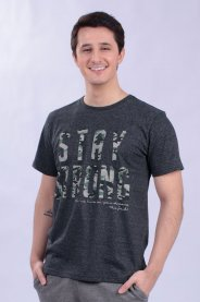 Imagem - Camiseta Malha Masculina Preta Com Estampa