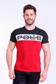 Imagem - Camiseta Malha Masculina Preta Com Recorte