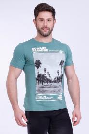 Imagem - Camiseta Malha Masculina Verde Estampa Tropical