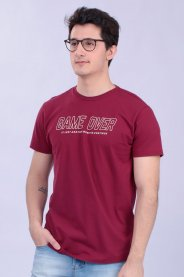 Imagem - Camiseta Malha Masculina Vinho Estampa Game