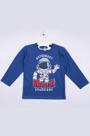 Imagem - Camiseta Manga Longa Bebê Silk Azul Astronauta