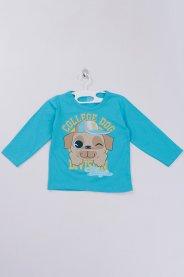 Imagem - Camiseta Manga Longa Bebê Silk Azul Cachorro