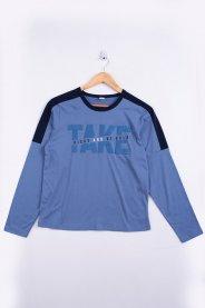 Imagem - Camiseta Manga Longa Juvenil Azul