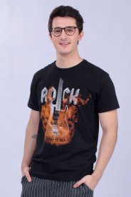 Imagem - Camiseta Masculina Gola Redonda Manga Curta Estampa Rock Guitarra