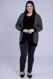 Imagem - Casaco Feminino Plus Size Tricot Listrado