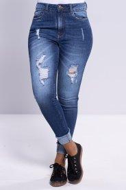 Imagem - Cigarrete Jeans Feminina Com Barra Virada
