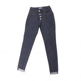 Imagem - Cigarrete Jeans Feminina Com Botões Barra Desfiada