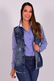 Imagem - Colete Jeans Longo Feminino Barra Desfiada