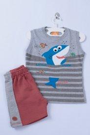 Imagem - Conjunto Menino Bebê Regata Com Estampa Tubarão