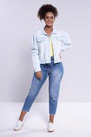 Imagem - Jaqueta Feminina Jeans Com Botões Encapados