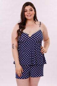 Imagem - Pijama Feminino Adulto Liganete Blusa Com Renda No Decote Short Com Elastico Na Cintura