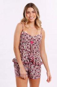 Imagem - Pijama Feminino Adulto Liganete, Blusa Com Top Rosa No Busto, Short Na Mesma Estampa Com Elastico