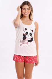 Imagem - Pijama Feminino Adulto Regata Gola Redonda Com Vies Branco Poa/Vermelho Shorts Branco Poa Vermelho