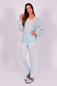 Imagem - Pijama Feminino Inverno Renda