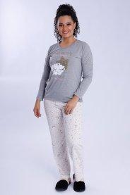 Imagem - Pijama Feminino Longo com Silk Estrela