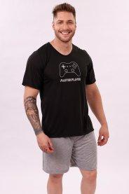 Imagem - Pijama Masculino Adulto Camiseta Preta Com Silk Game Shorts Mescla Liso